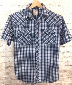 Levi Strauss Mens Small Navy Blue Plaid Western Cowboy Pearl Snap Shirt Check SS #Levis #Western