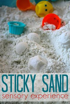 Sticky Sand is a fascinating sensory experience for toddlers/preschoolers/primary students. Use it inside or outside, and clean-up is a breeze!