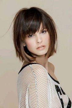 bob haircut with bangs short straight hair bangs ideas #hairstyle #style #short