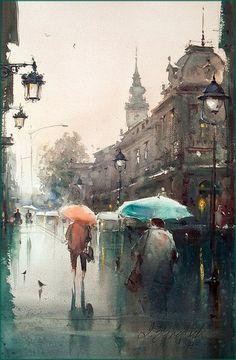 Dusan Djukaric Spring rain, watercolor, 36x55 cm