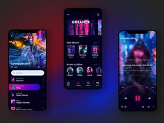 Music App UI concept (Dark Theme) by Bình Nguyễn on Dribbble Web Design Mobile, Web Mobile, Mobile App Ui, Flat Web Design, App Ui Design, Interface Design, User Interface, Best App Design, Responsive Template