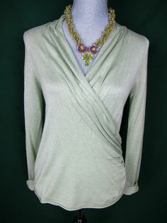 Moth Anthropologie Sweater Small Green Knit Top Cross Body Wrap V Neck #MothAnthropologie #WrapSwing#sweater#fashion#anthropologie#trend#top#moth#trendy#deal