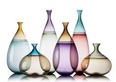 Colorful hand blown glass bottles, vases and pitchers. Unique statement pieces and art glass designs for home decor. Hand blown apothecary bottles inspired by modern design and decorative glass art. Hand made in America. Stained Glass Designs, Stained Glass Art, 3d Texture, Glass Texture, Glass Vessel, Glass Ceramic, Modern Glass, Modern Art, Hand Blown Glass