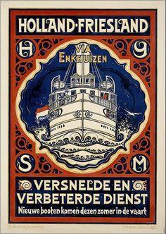 Vintage Shipping Travel Poster - Enkhuizen - Holland - Friesland .