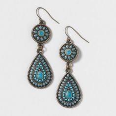 Turquoise Stone and Antique Gold Drop Earrings