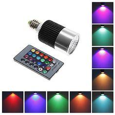 Focos Control Remoto E26/E27 10 W LED Integrado 800 LM K RGB AC 85-265 V 1728764 2016 – €22.99