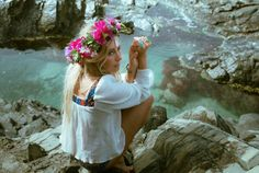 Hippie bathing ritual in mystical cave waters
