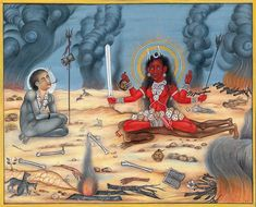 All spiritual phenomena in the universe tread the twin paths of beauty and danger. Goddess Bhairavi is the terrifying aspect of the Dasha Maha Vidya Kali Goddess, Mother Goddess, Kali Mantra, Mother Kali, Tantra Art, Apocalypse Art, Lord Shiva Hd Images, Mughal Paintings, Lord Shiva Family