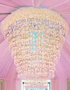 Chandeliers for Opulent Wedding | Inspirations by Preston Bailey. How magnificent is this! A beautiful flower chandelier.