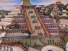 Tajin, the great capital of the Totonacs. This painting closely follows the actual structure of the ruins at Tajin. Their temples were noted for the upturned, almost Asian cornices, and the lines of niches built into each level of the temple. The civilization which built Tajin flourished between 600 and 1200 AD, and its influence stretched all the way down the Gulf Coast into Maya territory. Tajin gained prominence after the decline and fall of Teotihuacan Empire in Central Mexico.