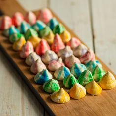 These vibrant rainbow meringues are sure to brighten up everyone@s day. There are really simple to make and once baked in the oven can be left for hours to dry out whilst you put your feet up. These rainbow meringues can also be sandwiched together with a cream filling for an extra indulgent twist.
