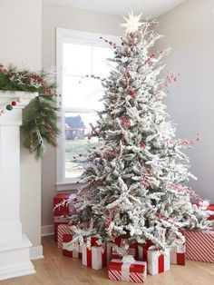 Flocked Christmas Trees Decorated, White Christmas Tree Decorations, Types Of Christmas Trees, White Christmas Trees, Diy Christmas Gifts, Christmas Home, Christmas Tree Ornaments, Christmas Cookies, Christmas Mantles