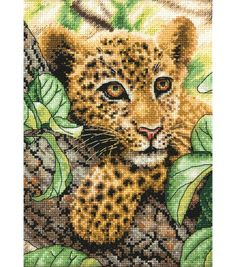 """Gold Collection Petite Leopard Cub Counted Cross Stitch Kit-5""""X7"""" 18 Count"""