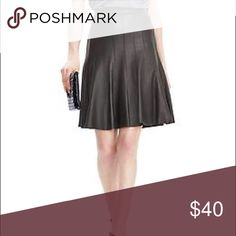 """Banana Republic Black Leather Skirt (NWT) Subdued yet edgy-- this is Banana Republic's limited edition black leather skirt. NWT. Features light pleating, stitching, lining on the inside, zipper in back. 100% supple leather. Purchased at Banana Republic retail store (not outlet). It's the perfect LBS! ;) For reference, I'm 5'4"""" and the skirt falls right at my hips and slightly above the knee. Banana Republic Skirts Mini"""