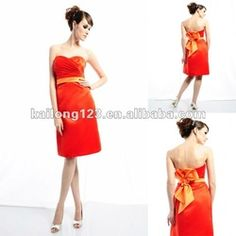 mobile site-Sweetheart Knee-length A-line Draped Flower Band Satin Gorgeous Bridesmaid Dresses
