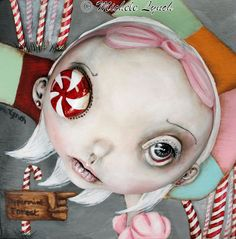 Pop Surrealism Candy Land Peppermint Forest Low by michelelynchart, $20.00