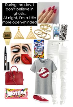 """""""Do you belive in ghost!!"""" by darrionne-r-adams ❤ liked on Polyvore featuring VILA, Uniqlo, Topshop, ChloBo, Kendra Scott, Yves Saint Laurent, River Island and Vera Bradley"""