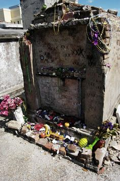 St Louis Cemetery #1: There are three tombs that are each rumored to be the resting place of Voodoo queen Marie Laveau. Visitors leave offerings at one, two, or each of the three.