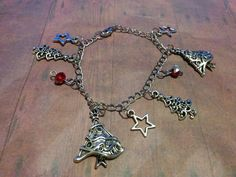 Christmas Tree & Star Charm Bracelet - red crystals - jewelry - stocking stuffer - holidays - xmas - chain bracelet - jewellery - steam punk by Blackrose37 on Etsy