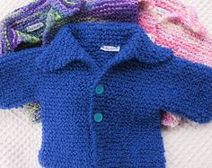 Boys Blue Hand Knitted Baby Sweater with Hat 12 month size Great shower gift for boy. knitted baby clothes baby clothes hand knitted