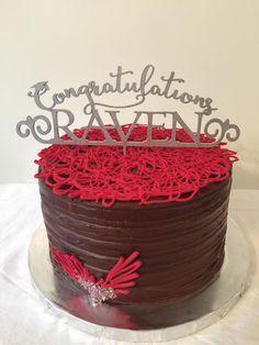 Chocolate on chocolate graduation cake