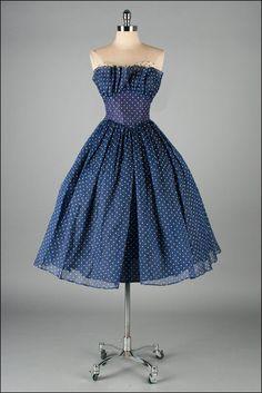 Vintage 1950s Dress . Blue Organza . White Polka Dots . Fred Perlberg . Full…