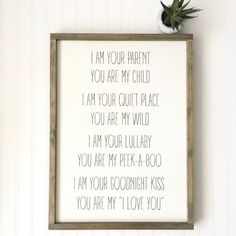 Grandma Quotes Discover I Am Your Parent You Are My Child Sign - Gender Nuetral Nursery Decor - Baby - Shower Gift - Child Room - Wild Child - Peekaboo - Mom Grandma Quotes, Mom Quotes, Peace Quotes, Wild Child, Kids Gifts, Gifts For Mom, Art Illustration Vintage, Nursery Decor, Nursery Signs