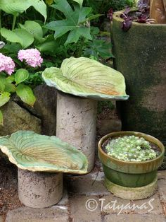 Hosta leaf sculptures: these would be cute seats in the garden (may need bigger leaves)