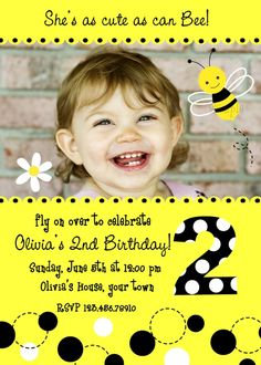 Bumble bee party invite. Also check out my cute party favors. www.partiesandfun.etsy.com #fairy party