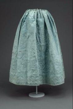 blue silk satin quilted petticoat. 18th c. probably American MFA Boston 44.9 (96 x 125 cm)