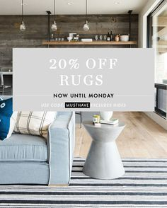 (Now closed) Last day to get off rugs at McGee & Co. Blue Sectional, Studio Mcgee, Last Chance, 20 Off, Rugs, Farmhouse Rugs, Rug