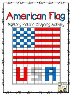 American Flag USA Mystery Picture Graphing Activity by Mrs Thompson's Treasures $Free
