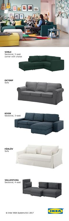 Whether you're snuggling under a blanket with a glass of wine or watching the kids pile in for a slumber party, your living room sofa is where everyone can unwind together. Find a sofa that fits your space but leaves room for a variety of activities. Click to find an IKEA sofa perfect for your family's space.