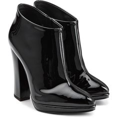 Giuseppe Zanotti Patent Leather Ankle Boots ($575) ❤ liked on Polyvore featuring shoes, boots, ankle booties, sapatos, botas, heels, black, short black boots, black boots and black pointed toe booties