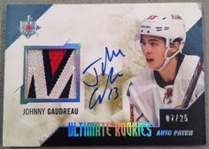 "Johnny Gaudreau 14/15 ULTIMATE ROOKIES""AUTO PATCH""SR#ED 07/25 NICE ""M"" Patch!"