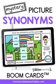 This digital activity targets synonyms (words with similar meanings) and is a great way to practice and expand vocabulary. Students will click the matching synonym for each word to reveal a piece of the hidden picture below. This deck is an engaging way to practice using words with similar but not identical meanings. Students are asked to choose the synonym from the options given on each card. English Vocabulary Games, Grammar And Vocabulary, Teacher Must Haves, Printable Board Games, Synonyms And Antonyms, Classroom Language, Educational Games, Classroom Activities, Task Cards