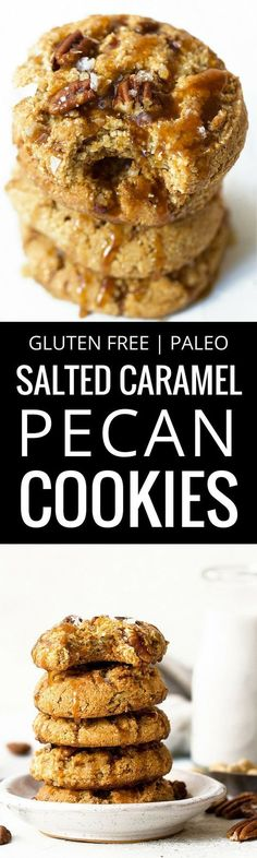 Salted caramel pecan cookies made with raw cashews, bursting with added protein from collagen peptides & topped off with homemade vegan caramel sauce. These easy paleo cookies are the perfect treat for you and your friends and family. Paleo pecan cookies. Paleo caramel pecan cookies. Gluten free pecan cookies.