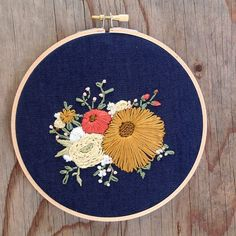 Floral Bouquet Embroidery Hoop Yellow and by IttyBittyBunnies