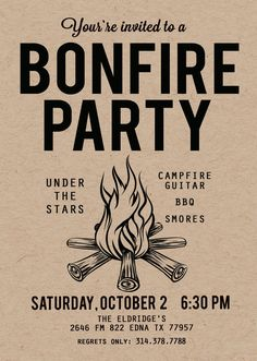 birthday bonfire campout cookout party invitation bonfires party invitations and birthdays - Bonfire Party Invitations
