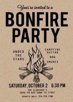 rustic blazin bonfire party invitations pinterest bonfires and