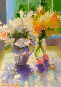 Items similar to DAISIES. Original still life art work, painting of roses and daisies, yellow and purple on Etsy Painting Still Life, Still Life Art, Paintings I Love, Painting Frames, Abstract Flowers, Watercolor Flowers, Pinturas Color Pastel, Still Life Flowers, Arte Popular