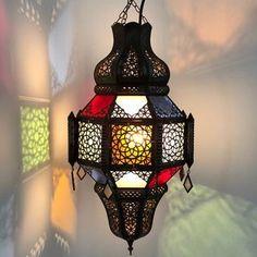 Adilah Lantern Coloured Large Moroccan Table, Moroccan Lamp, Moroccan Lanterns, Moroccan Inspired Bedroom, Electrical Fittings, Moroccan Lighting, Lantern Lamp, Brass Lamp, Ceiling Rose