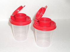 Tupperware Salt and Pepper Shakers Mini Set Clear with Red Seals: Kitchen & Dining. Remember This? Salt N Pepper, Salt Pepper Shakers, Air Tools, Vintage Tupperware, Kitchen Gadgets, Vintage Antiques, Seals, Lunch Box, Stuffed Peppers