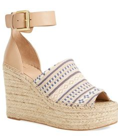 blue and tan summer wedges