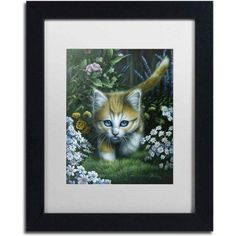 Trademark Fine Art 'Buttercup 2' Canvas Art by Jenny Newland, White Matte, Black Frame, Size: 11 x 14, Assorted