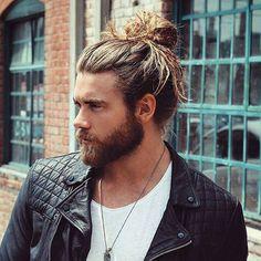 Man Bun with Long Hair and Beard