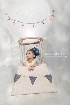 Editorial props,Set Design, Childrens fashion, editorial hair, hot air balloon, childmodel, fashion WWW.KOKOBLUSH.COM
