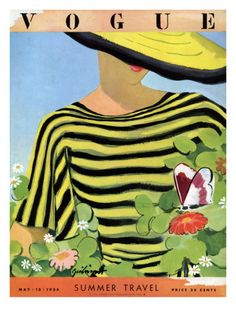 Vintage Illustrations Vogue Cover - May 1934 - Glam Gardening Regular Giclee Print - Vogue Magazine Cover Featuring A Woman Looking by Alix Zeilinger Vogue Magazine Covers, Fashion Magazine Cover, Fashion Cover, Magazine Art, Vogue Vintage, Vintage Vogue Covers, Vintage Fashion, French Fashion, Foto Fashion