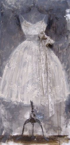 @Kristen Shields this painting made me think of you. I think you should paint your vintage dress form onto that large canvas you have, maybe with that old prom dress you have.
