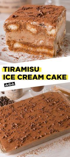 We are in AWE over how perfect this Tiramisu Ice Cream Cake is. Get the recipe at Delish.com. #recipe #easy #easyrecipe #dessert #cake #icecream #summer #tiramisu #italian #coffee #vanilla #dessertrecipes #coffeeaddict #summerrecipes #baking